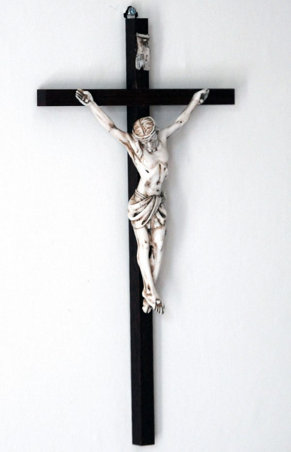 16' wood crucifix with imitation marble corpus-0