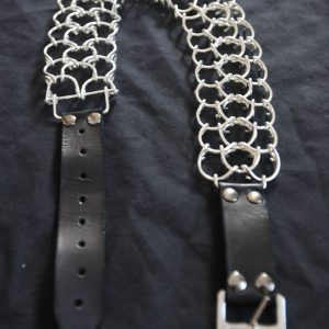 17inch 2mm silver plated full leg cilice with leather strap buckle-0