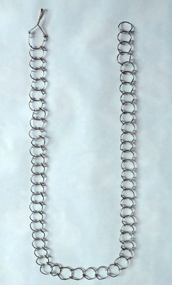 A light-weight, one link, 1mm gauge, full-length waist metal cilice with metal fastener-17