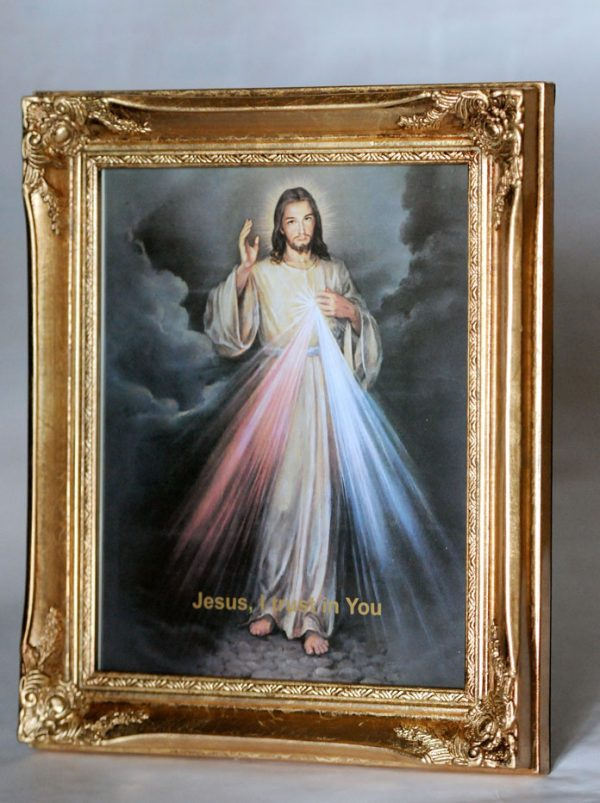 "12"" x 10"" Stand or hang deluxe antique gold finish framed picture of the ""Divine Mercy""-0"