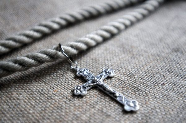 Sack cloth Hair-Shirt with stitching around the seams to avoid fraying. The Shirt comes with a cincture cord and crucifix-85