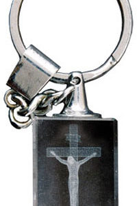 "Key Ring/Laser Engraved Crystal/Crucifix, Size: 4 1/2"", Crystal Laser Engraved-0"