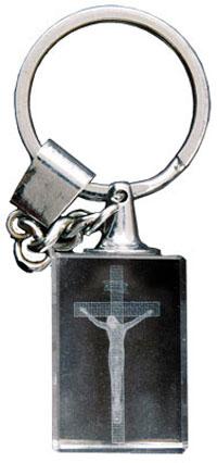 "Key Ring/Laser Engraved Crystal/Crucifix, Size: 4 1/2"", Crystal Laser Engraved-0"