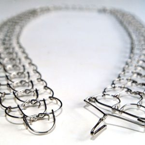 A three link, 1mm gauge full-length waist metal cilice with metal fastener-0