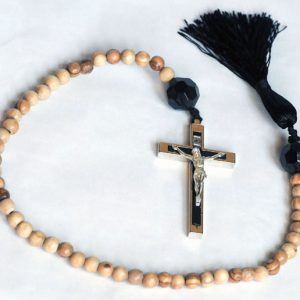 """Pater Noster cord"" made exclusively for Cilice.co.uk, length 23 inch approx, made with 50 olivewood beads from Jerusalem and a 3 inch metal Crucifix-0"