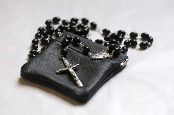 Quality Black cow hide leather Rosary case-0