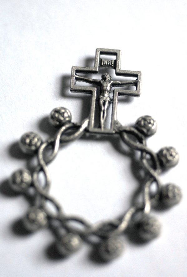 Metal Rosary Ring. Made in Italy-0