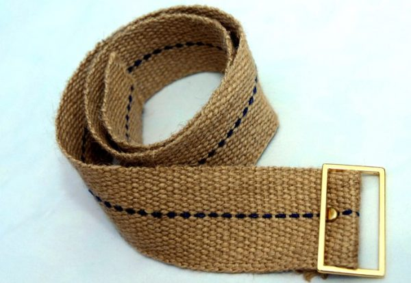 Traditional sack cloth full-leg cilice belt with metal buckle.-25