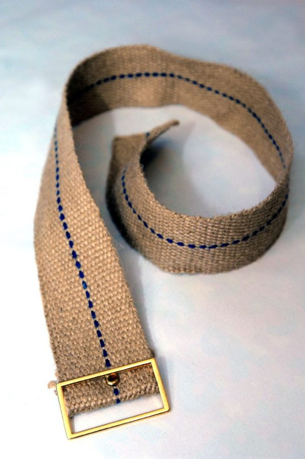 Traditional sack cloth full-leg cilice belt with metal buckle.-0