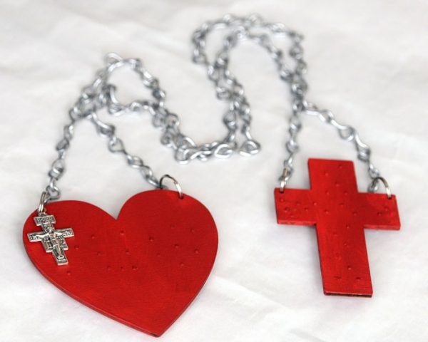 """Sacred Heart Scapular with chains and crucifix """"sold without the metal spikes""""-80"""