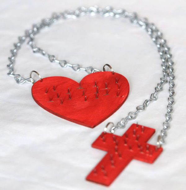 """Sacred Heart Scapular with chains and crucifix """"sold without the metal spikes""""-78"""