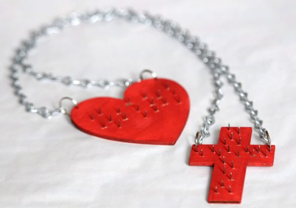 """Sacred Heart Scapular with chains and crucifix """"sold without the metal spikes""""-0"""