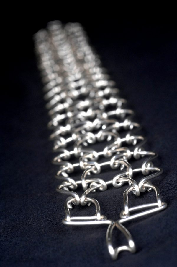 "2mm silver plated full leg cilice 23""x2""-39"
