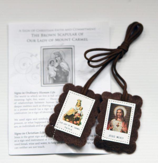 Brown Scapular with Information Leaflet-0